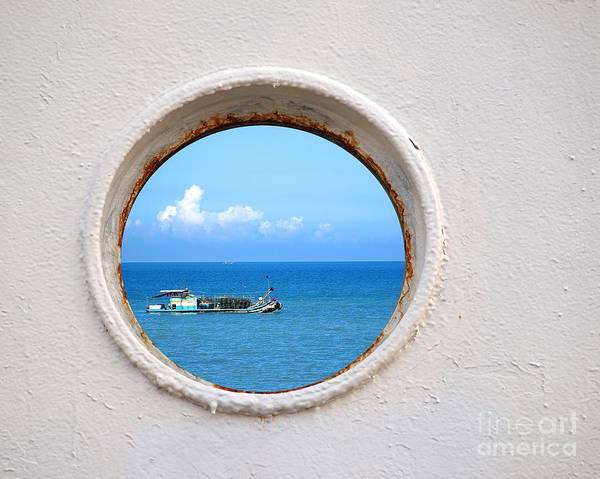 Chinese Fishing Boat Seen Through A Porthole Poster