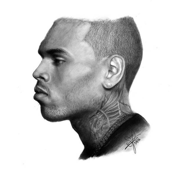 Chris Brown Drawing By Sofia Furniel Poster