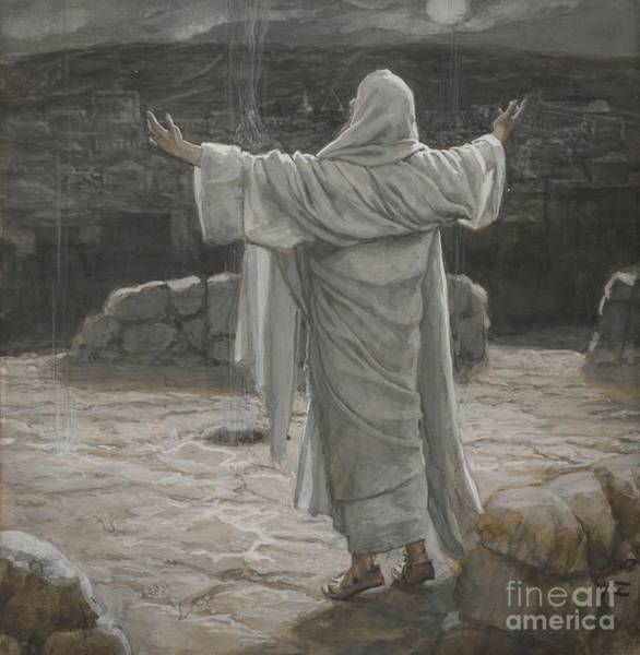 Christ Retreats To The Mountain At Night Poster