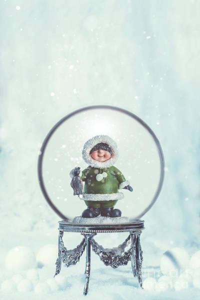 Christmas Globe With Eskimo Poster