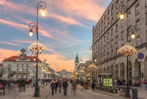 Christmas Lights In Warsaw Poster