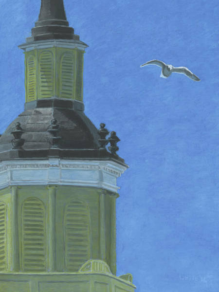Church Steeple With Seagull Poster