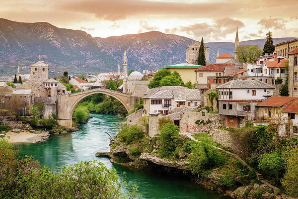 City Of Mostar And Neretva River Poster