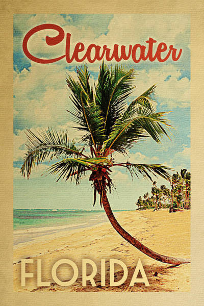 Clearwater Florida Palm Tree Poster