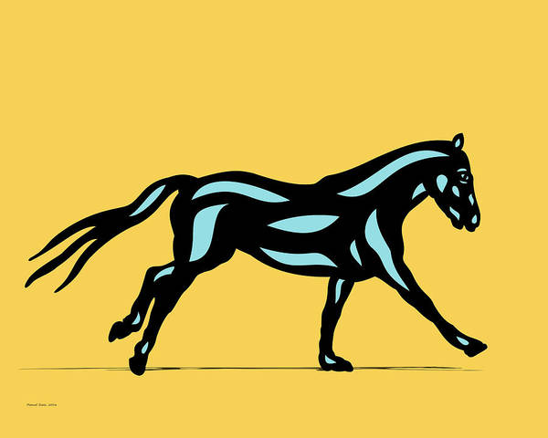 Poster featuring the digital art Clementine - Pop Art Horse - Black, Island Paradise Blue, Primrose Yellow by Manuel Sueess