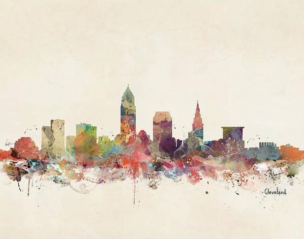 Cleveland Ohio City Skyline Poster