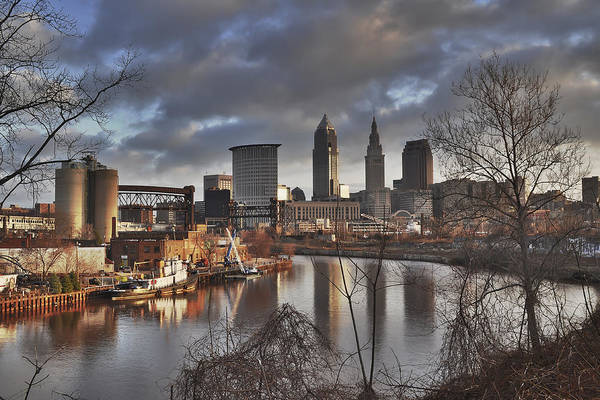 Cleveland Skyline From The River - Morning Light Poster