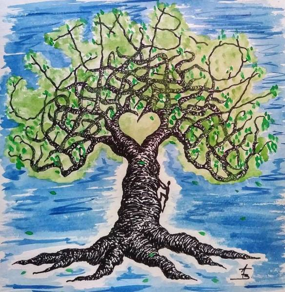 Poster featuring the drawing Climb-on Love Tree by Aaron Bombalicki