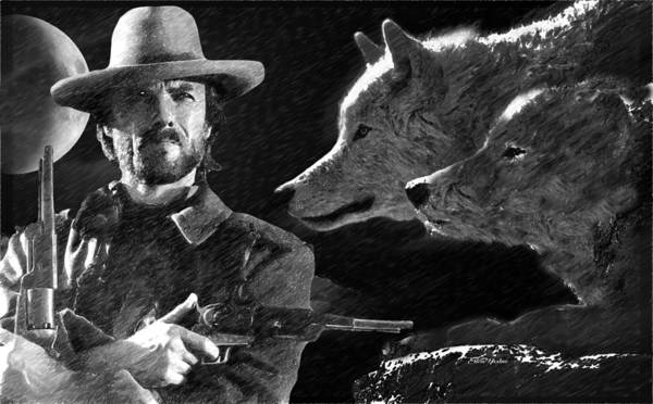 Clint Eastwood With Wolves Poster