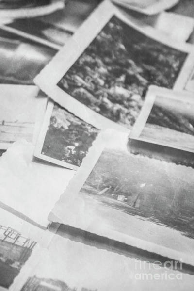 Close Up On Old Black And White Photographs Poster