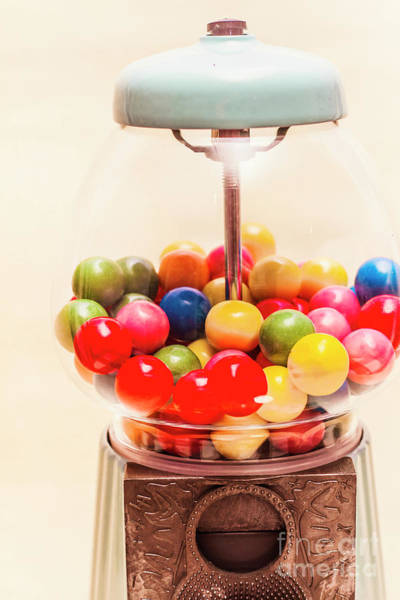 Closeup Of Colorful Gumballs In Candy Dispenser Poster
