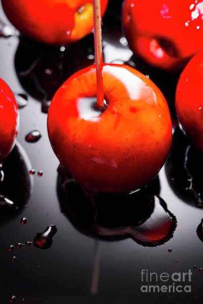 Closeup Of Red Candy Apple On Stick Poster