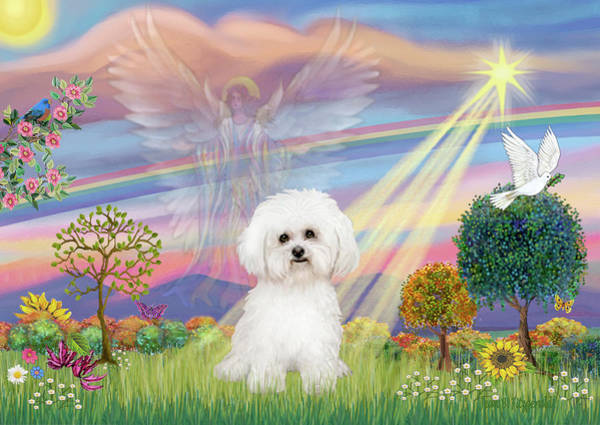 Cloud Angel And Bichon Frise Poster