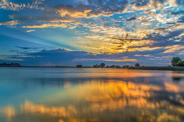Clouds Reflected At Sunrise Poster