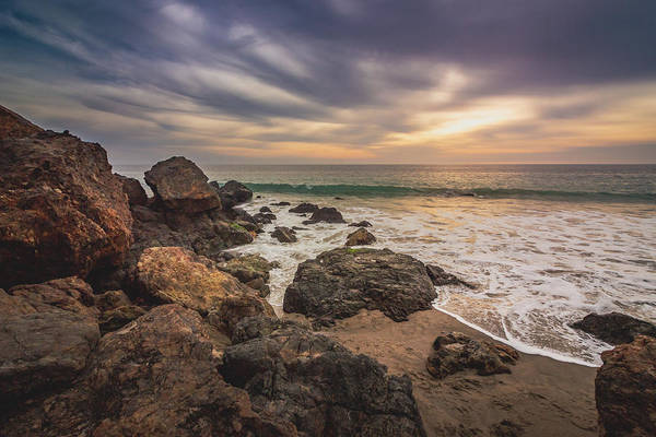 Cloudy Point Dume Sunset Poster