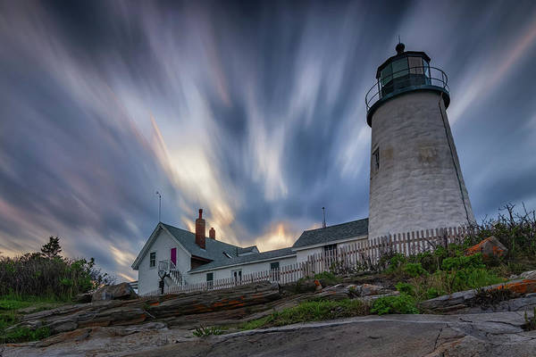 Cloudy Sunset At Pemaquid Point Poster