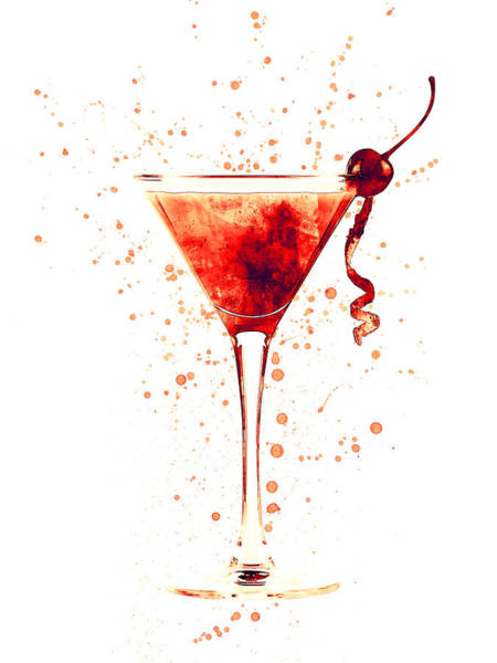 Cocktail Drinks Glass Watercolor Red Poster