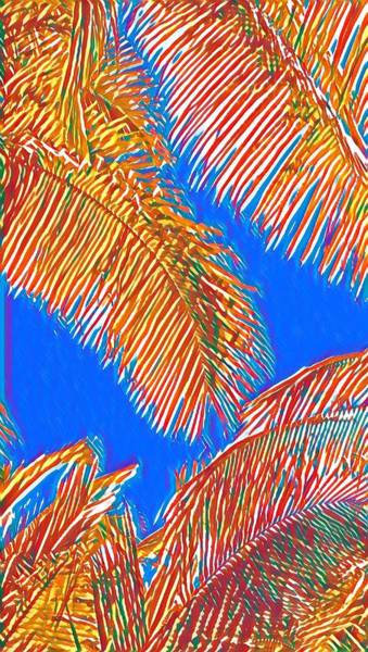 Coconut Palms In Red And Blue Poster