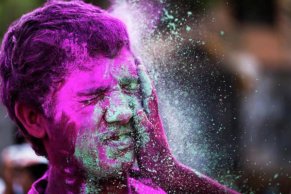 Color Splash During Holi Festival, India Poster