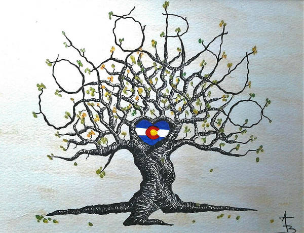 Poster featuring the drawing Colorado Flag Love Tree by Aaron Bombalicki