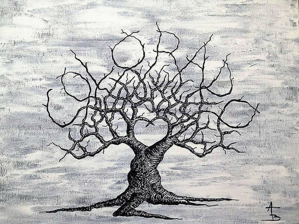 Poster featuring the drawing Colorado Love Tree Blk/wht by Aaron Bombalicki