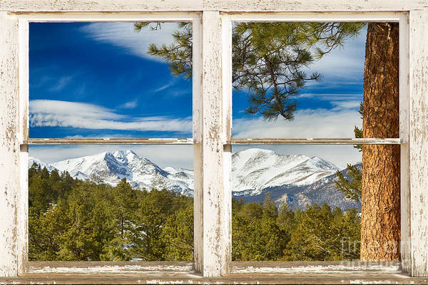 Colorado Rocky Mountain Rustic Window View Poster
