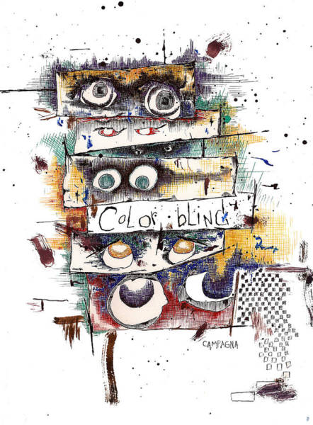 Poster featuring the drawing Colorblind by Teddy Campagna