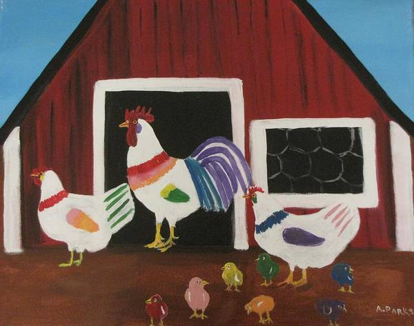 Colored Art Chickens Poster