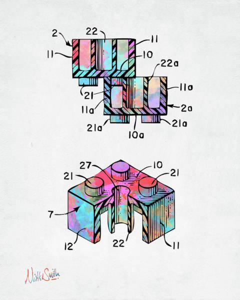 Colorful 1961 Lego Brick Patent Minimal Poster