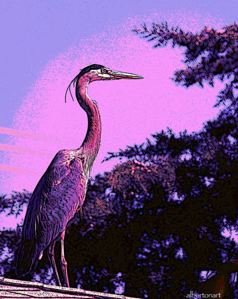 Colorful Heron Poster