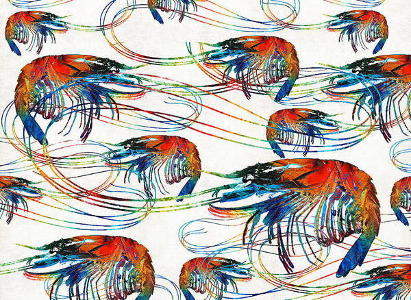 Colorful Shrimp Collage Art By Sharon Cummings Poster