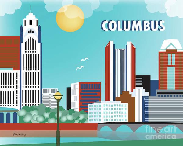 Columbus Ohio Horizontal Skyline Poster