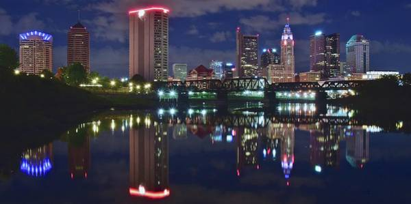 Columbus Ohio Panorama Over The Scioto Poster