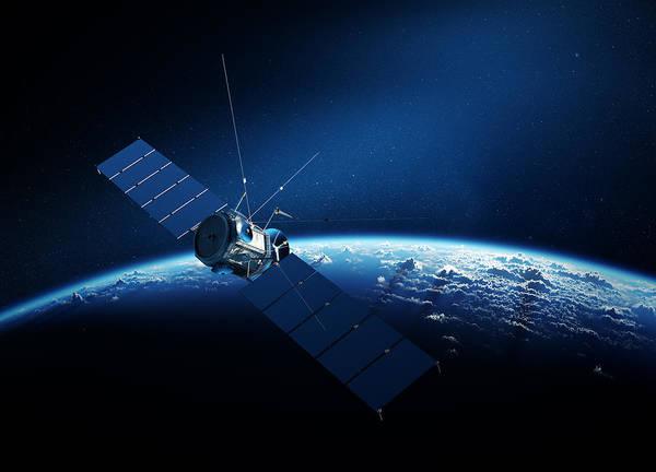 Communications Satellite Orbiting Earth Poster