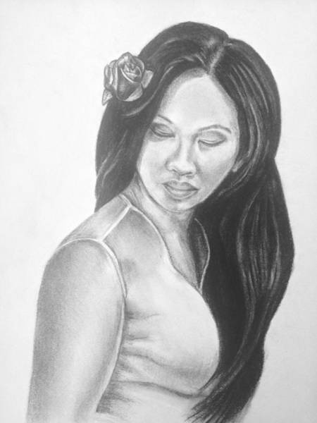 Long Hair Asian Lady With Rose In Sorrow Charcoal Drawing  Poster