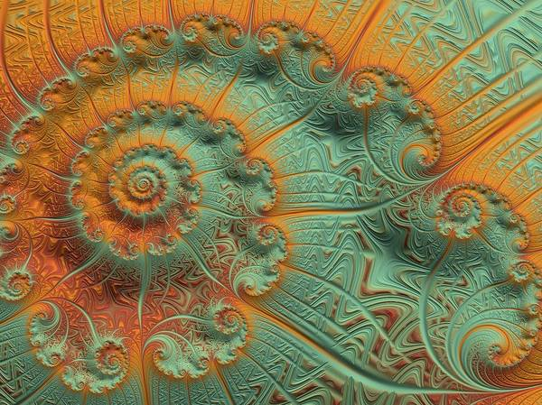 Poster featuring the digital art Copper Verdigris by Susan Maxwell Schmidt