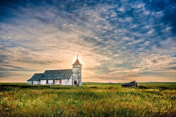 Country Church Sunrise Poster
