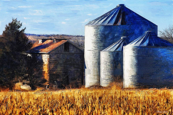 Countryside Old Barn And Silos Poster