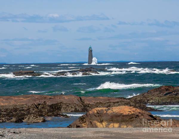 Crashing Waves On Minot Lighthouse  Poster