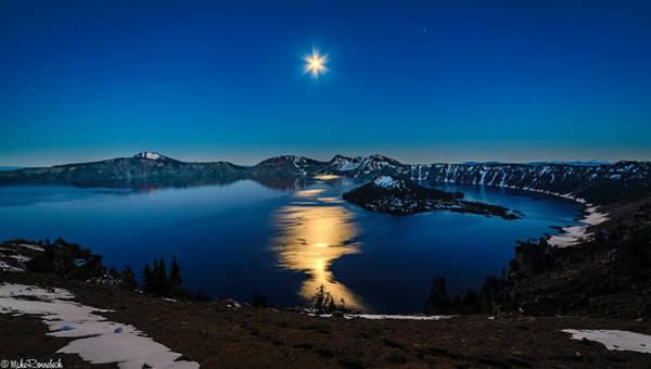 Crater Lake Moonlight Poster