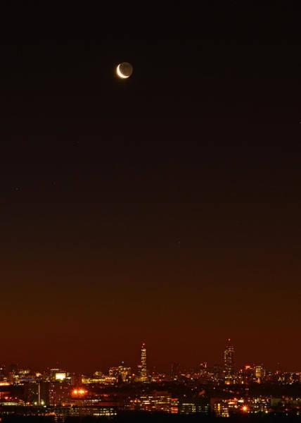 Crescent Moon Over Boston Poster