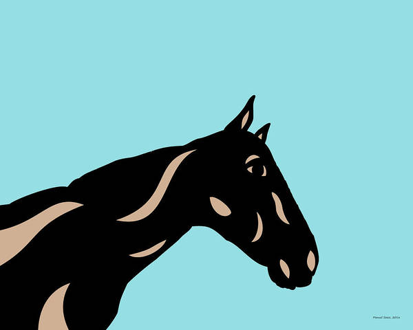Poster featuring the digital art Crimson - Pop Art Horse - Black, Hazelnut, Island Paradise Blue by Manuel Sueess