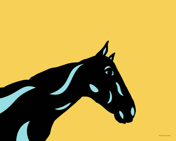 Poster featuring the digital art Crimson - Pop Art Horse - Black, Island Paradise Blue, Primrose Yellow by Manuel Sueess