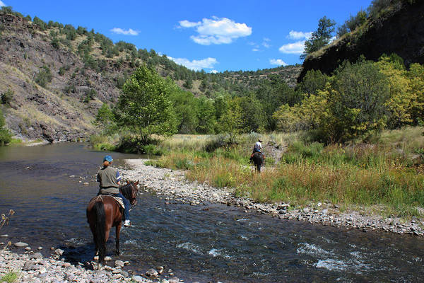 Crossing The Gila On Horseback Poster