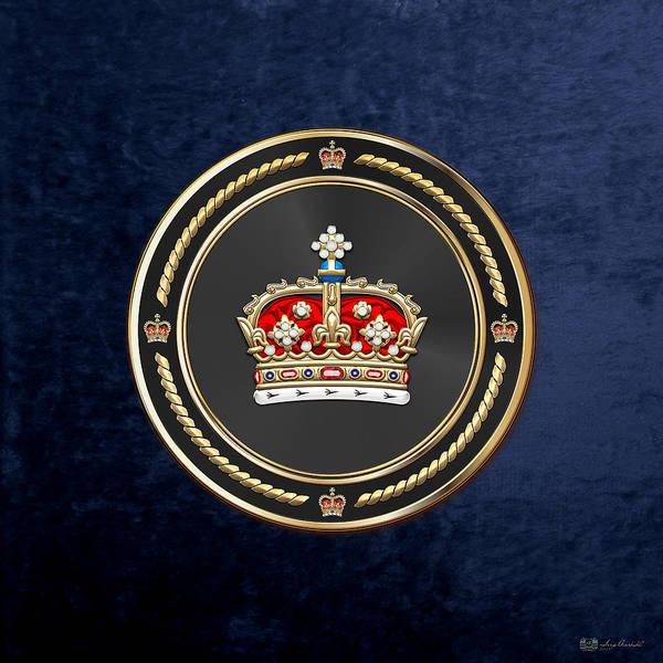 Crown Of Scotland Over Blue Velvet Poster