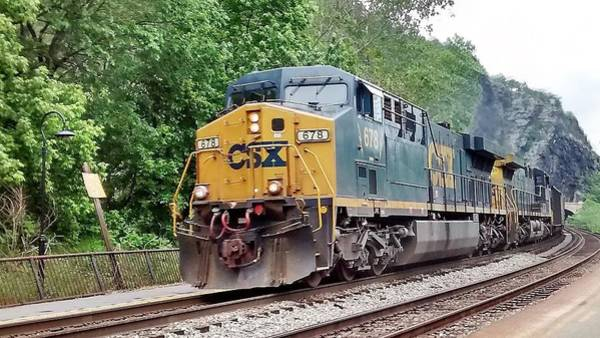 Csx Ac60cw Leading Manifest Freight At Harper's Ferry Poster