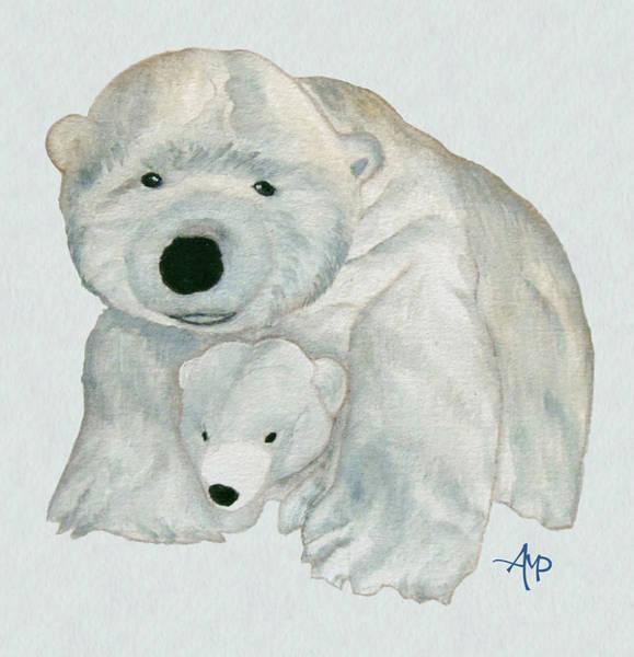 Cuddly Polar Bear Watercolor Poster