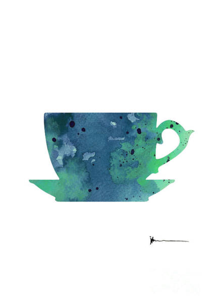 Cup Of Tea Painting Watercolor Art Print Poster