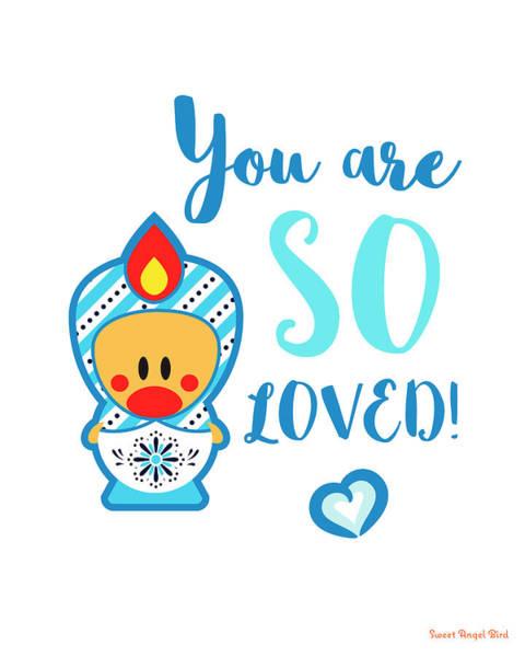 Cute Art - Blue And White Folk Art Sweet Angel Bird In A Matryoshka Costume You Are So Loved Wall Art Print Poster