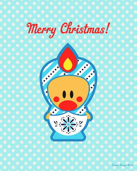 Cute Art - Blue Polka Dot Merry Christmas Folk Art Sweet Angel Bird In A Nesting Doll Costume Wall Art Print Poster
